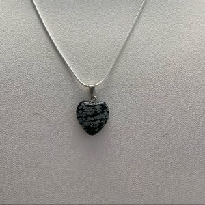 Black and Grey Marbled Heart Necklace